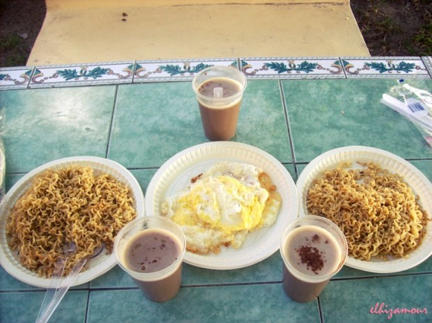 Our breakfast- pansit canton and scrambled egg!